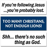 100's Of Hilarious Anti-Religious and Establishment Bumper Stickers!