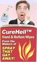 Spray that Gay Away with CureHell™ and Gay Away!  Sanitize your family from Gay demons!