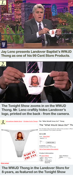 Jay Leno Showcases Landover Baptist's WWJD Thong During his Last Month on The Tonight Show