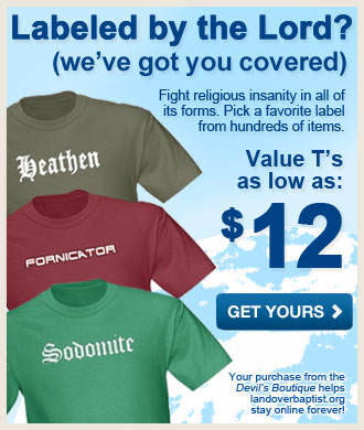 100's of Labels! Click Here to see more! Christmas Gift Ideas like hilarious shirts, caps, mugs and funny christmas cards for heathens! Get shirts, mugs, hats, mugs, bumper stickers and more with Humorous religious labels! For Christmas