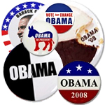 Obama Campaign Buttons and Magnets