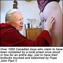 Pope John Paul II examines the buttocks of Canadian boys