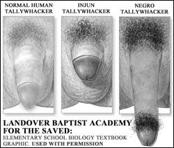 Landover Christian Academy: Tallywhacker Size Comparison Chart - Baptist Biology 101